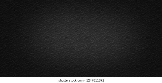 Seamless Black Pattern Wallpaper or Metal Pattern Texture.