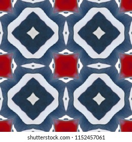 Seamless black, red, white symmetrical geometric with square and diamond shapes. Abstract design, illustration for wallpaper, fabric, print