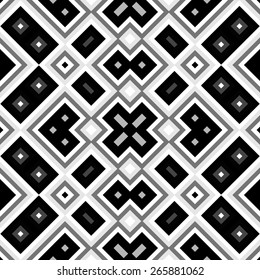 Seamless black and white geometric background generated from squers