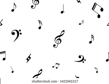 seamless black and white illustration of musical notes