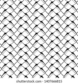 Seamless black and white pattern of interlocked hands grasping wrists as endless carpet of unity.