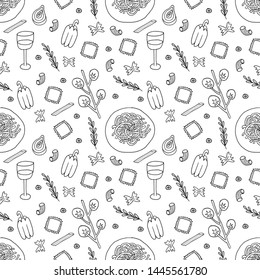 Seamless black and white pattern of Italian food