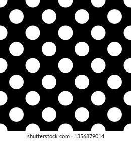 Seamless black and white pattern or tile background set with big polka dots. For desktop wallpaper, decoration and website design.