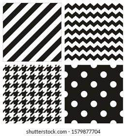 Seamless black and white pattern or tile background set with polka dots, zig zag and hounds tooth print