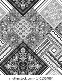 seamless black and white shawl paisley pattern  for bed linen .textiles, fabrics, souvenirs, packaging, greeting cards and scrapbooking,shawl