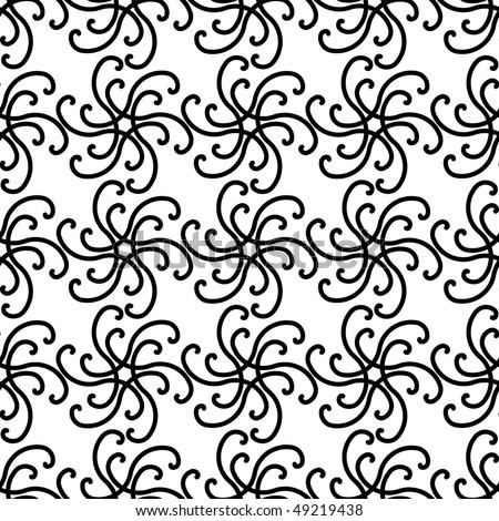 Seamless Black White Swirl Pattern Stock Illustration 49219438
