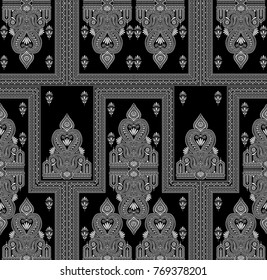 Seamless black and white traditional indian pattern
