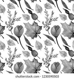 Seamless black-white autumn pattern. Set of dog rose, maple, blossom, poppy, branch, leaves. Design for paper, background, celebrating postcard, poster, textile, wallpaper.