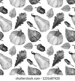 Seamless black-white watercolor autumn pattern. Set of pumpkins, oaks, leaves. Design for paper, background, celebrating postcard, poster, textile, wallpaper.