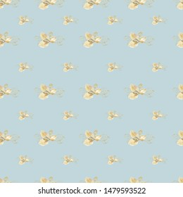 Seamless blue background with golden leaves. Computer-aided watercolor drawings. Background for wallpaper, site, banner. For printing on paper and fabric.