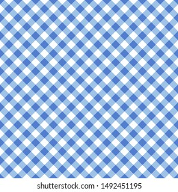 Seamless blue classic table cloth texture with diagonal lines