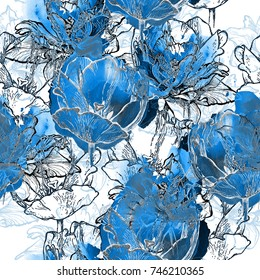 Seamless blue floral pattern, tulips in outline and watercolor splash, cobalt hues with metallic silver accents, on white background, blended effect. Trendy botanical textile texture. Wallpaper.