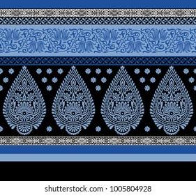seamless blue  horizontal with paisley