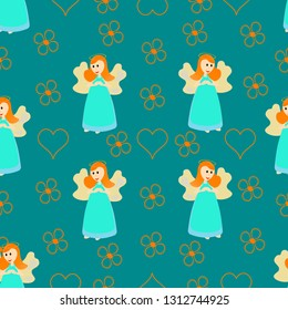 Seamless blue pattern, wallpapper or wrapping papper, fairy.