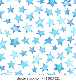 Seamless blue sky watercolor pattern. Hand drawn painted background. Ink illustration. Stars elements. Polka dots ornament for wrapping paper.