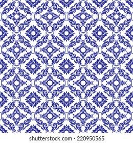 Seamless Blue & White Damask Pattern