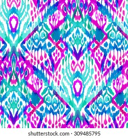 seamless bohemian ethnic pattern. ikat vertical ornaments, beautiful colors, zigzag layout.