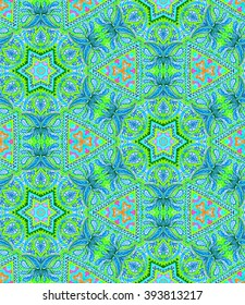 seamless bohemian kaleidoscope pattern. paisleys and detailed ornaments,for fashion, interior, swimwear. Boho festival style, cachemire scarf