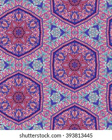 seamless bohemian kaleidoscope pattern. paisleys and detailed ornaments,for fashion, interior, swimwear. Boho festival style, cashmere scarf