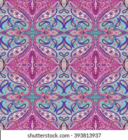 seamless bohemian pattern. paisleys and detailed ornaments, ceramic tiles look, for fashion, interior, swimwear. Boho festival style, gypsy textile.