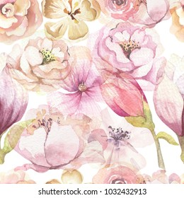 Seamless boho pattern with large watercolor flowers by peonies. Blossom bohemian floral spring backgraund decoration. Pink rose fabric