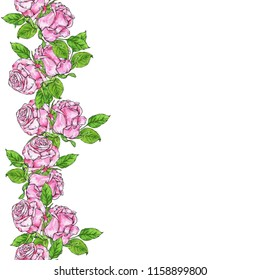 Seamless border with beautiful pink roses and green leaves on white background. Hand drawn watercolor and ink illustration.