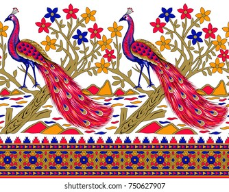 Seamless border with colorful peacock