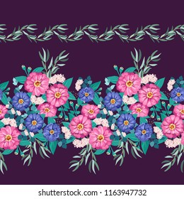 Seamless border, floral watercolor design: garden zinnia flower, silver eucalyptus branch, green thyme, greenery leaves, iberis. Fashionable background print for textile, wallpaper, decoupage.