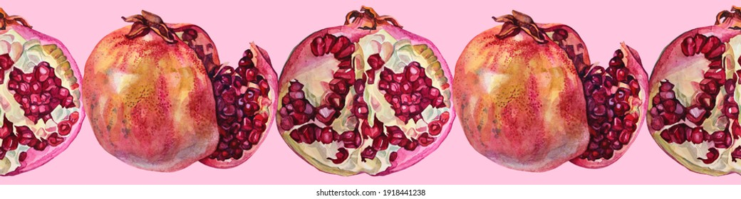 Seamless border frame watercolor red pomegranate with seeds on pink background. Art creative object garnet for menu, textile, card, sticker, wallpaper, wrapping