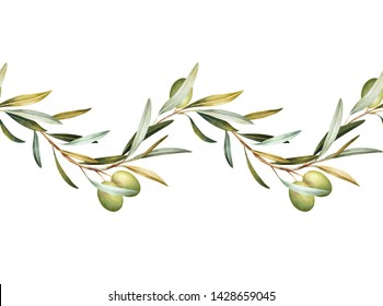 Seamless border of green olive tree branches. Hand drawn watercolor illustration. Decorative design elements.