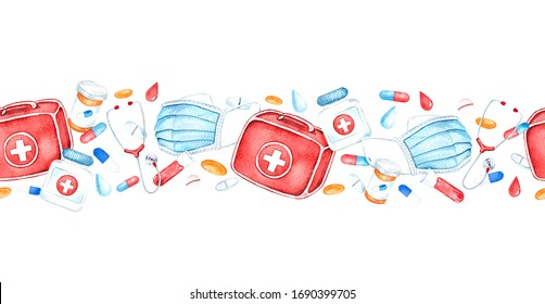 Seamless border with medical instruments, first aid kit, pills, heart, stethoscope, medical mask. Health and science. Watercolor painting.