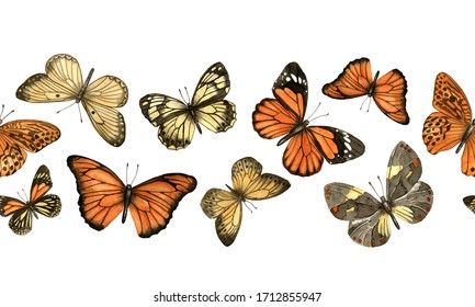 Seamless border with orange, brown and yellow watercolor butterflies