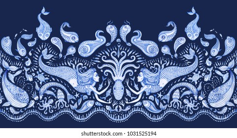 Seamless border pattern of blue hand painted fairy tale sea animals and mermaid. Watercolor fantasy fish, octopus, coral, sea shells, bubbles on a dark indigo background. Batik fringe, textile print