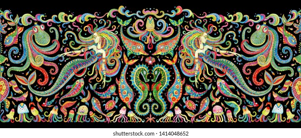 Seamless border pattern of colorful hand painted fairy tale sea animals and mermaid. Watercolor fantasy fish, octopus, sea shells, bubbles on a black background. Batik fringe, textile print