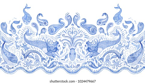 Seamless border pattern of indigo blue hand painted fairy tale sea animals and mermaid. Watercolor fantasy fish, octopus, coral, sea shells, bubbles, isolated on a white background. Batik fringe