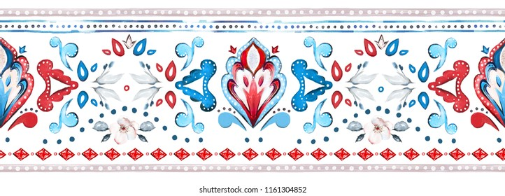 seamless border, pattern with watercolor geometric, botanic. Ethnic ornaments. Abstract tribal background. rim with floral illustration.
