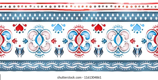 seamless border, pattern with watercolor geometric. Ethnic ornaments. Abstract tribal background. rim illustration.