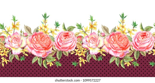 Seamless border of pink English roses and sprigs of forsythia, watercolor nabordovom background with polka dots