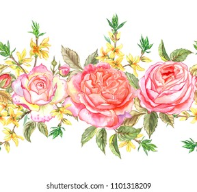 Seamless border of pink English roses and forsythia, watercolor painting on white background.