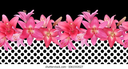 Seamless border of pink lilies in black and white background in polka dots, photo-realistic collage.