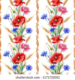 Seamless border of poppies, cornflowers and wheat with a baroque pattern, watercolor illustration.