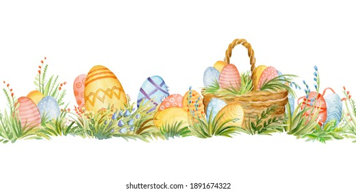 Seamless border with spring easter concept. Watercolor border with baskets and easter eggs isolated on white background. For decor, print, wallpaper, tissue, scrapbooking, packaging paper