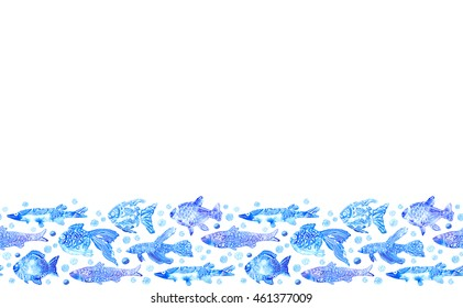 seamless border with stylized blue fish. watercolor hand drawn illustration.white background.white ornament.wrapping marine image
