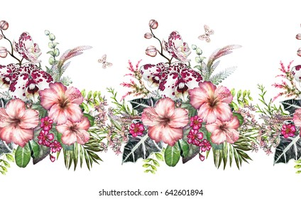 Seamless  border with tropical plants - flowers, leaves. exotic watercolor floral pattern with orchid, hibiscus, herbs, butterfly. Seamless floral rim, band for cards, invitation or fabric.