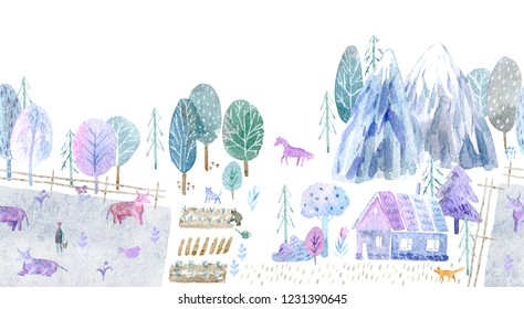 Seamless border of a village, pasture, forest,cow,mountain, chicken, horse,farm and floral.Landscape.Watercolor hand drawn illustration.White background.
