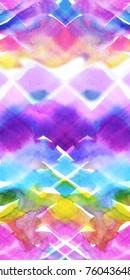 Seamless border watercolour paint neon trendy pattern geometric zigzag stripes. Hand drawn aquarelle vivid chevron background. Geometry backdrop vivid  modern trendy style