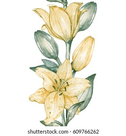 Seamless border of yellow lilies. Watercolor painting. Hand drawing. Decorative element for greeting card, Invitation card.