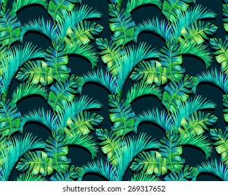 seamless botanic foliage pattern. large and colorful palm leave, vertical half drop composition. for interior, wallcoverings, fashion.