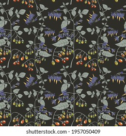 Seamless botanical brown pattern with nightshade plants