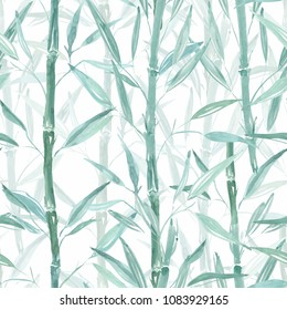 Seamless Botanical pattern. Bamboo branches on a white background. Stylish pattern .